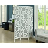 "Monarch Specialties 3-Panel Frame ""Bubble Design"" Folding Screen, White"