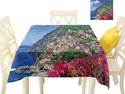 Outdoor Table Bar Amalfi (WilliamsDecor BBQ Tablecloth Italy,Positano Amalfi Naples Kitchen Table Cover W 60