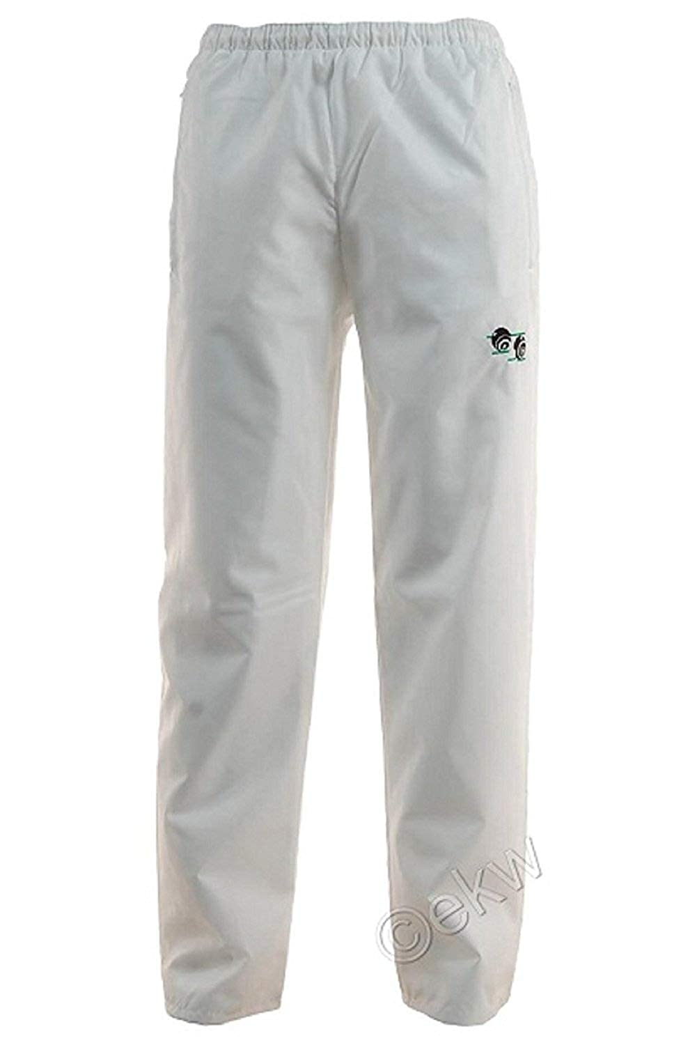 New Bowls Lawn Bowling Unisex Men's Woman's Waterproof Trousers with Bowls Logo Elasticated adjustable waist Free Shipping (Medium, White)