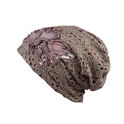 CHIDY Women Fabric Cap Sleeping CapIndia Muslim Stretch Turban Hat Sequins Lace Hair Loss Head Scarf Wrap