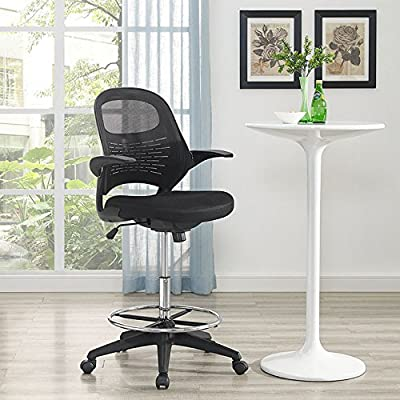 Astounding Modway Advance Drafting Stool In Black Reception Desk Chair Tall Office Chair For Adjustable Standing Desks Drafting Table Chair Flip Up Arms Cjindustries Chair Design For Home Cjindustriesco
