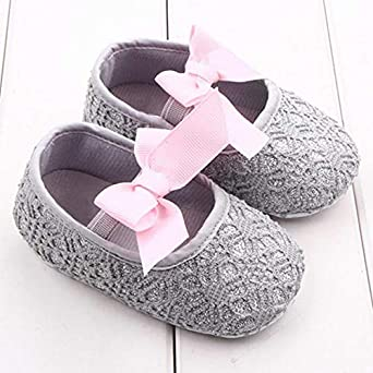 Dainzuy Toddler Girls Sandals Soft Sole Crib Shoes Anti-Slip Sneaker Bowknot Baby Shoes 6 12 Months Walking