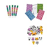 Stackable Bear Pencils, Plush Animal Print Spiral Notepads, Erasers Bundle For 12 People