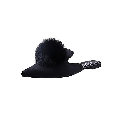 549542ed224 Amiley Women Fashion Solid Color Pom Pom Hair Ball Pointed Toe Flat Heel  Sandals Slipper (