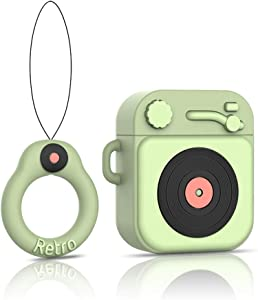 EZICOK Cute Airpods Case with Keychain Lanyard Matcha Green Retro Phonograph 3D Funny Cartoon Character Silicone Airpod Soft Cover Best Gift for Girls Kids Teens Couples
