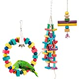 MEWTOGO 3Pcs Natural and Colorful Knots Block Parrot Chewing Toys - Wooden Stand Hanging Ring Chew Toys for Medium Birds