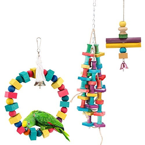 Exercise Medium Toys Bird (MEWTOGO 3Pcs Natural and Colorful Knots Block Parrot Chewing Toys - Wooden Stand Hanging Ring Chew Toys for Medium Birds)