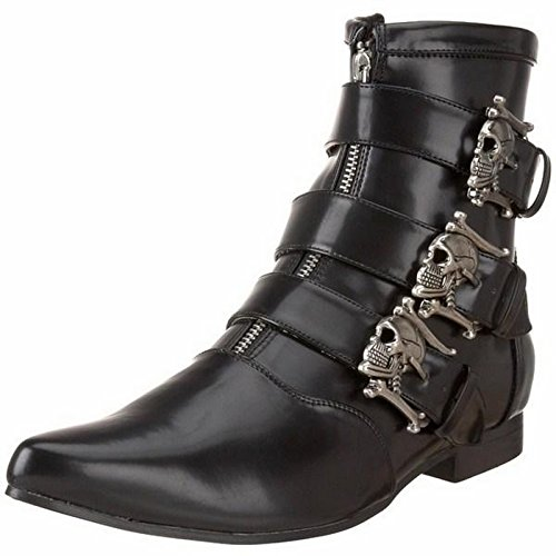 Demonia Men's/Unisex Ankle Boot With Dirty Silver Skull Buckles (Black Nappa PU;8)