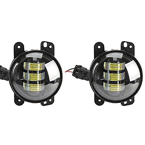 TURBO-SII-7-Inch-Chrome-Projector-Lens-Led-Headlights-With-DRL-Hilo-Beam-2pcs-4-Inch-Led-Fog-Lamps-White-Halo-Ring-DRL-For-Jeep-Wrangler-Dodge-Chrysler-Front-Bumper-Lights