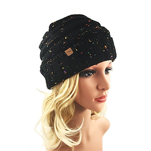 Women's Warm Chunky Thick Stretchy Knit Beanie Skull Cap (Black)