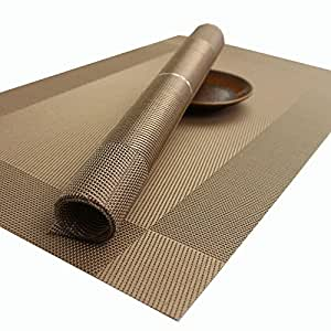 Kidcia placemats for table woven vinyl heat resistant washable stain resistant - Heat resistant table cloth ...