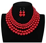 Shineland Elegant 5 Layer Strand Faux Pearl Cluster Collar Bib Choker Necklace And Earrings Suit (Red)