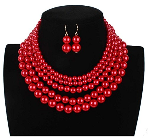 Shineland Elegant 5 Layer Strand Faux Pearl Cluster Collar Bib Choker Necklace And Earrings Suit ()