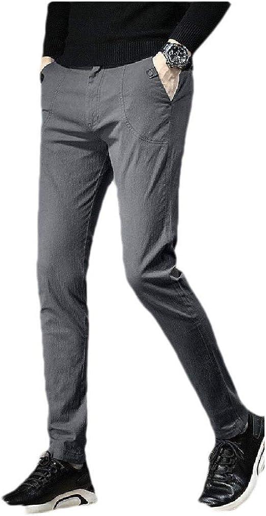 AngelSpace 男性 ソリッド カラー ポケット シック フラットフロント ミッド ウエスト ウォーム ワーク パンツ