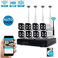 LOOSAFE 1080P 8CH Wireless Home Security Camera Systems Pre-installed 2TB Hard Drive with 8 Outdoor 2.0 Megapixel Wifi IP Surveillance Camera ,IP66 Waterproof