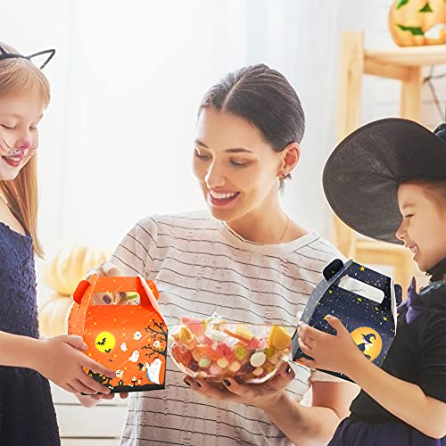 TOXOY Halloween Cardboard Goodie Box, 15 PCS Trick or Treat Paper Boxes Halloween Candy Boxes with Handle Small Halloween Treat Boxes for Halloween Party Favors