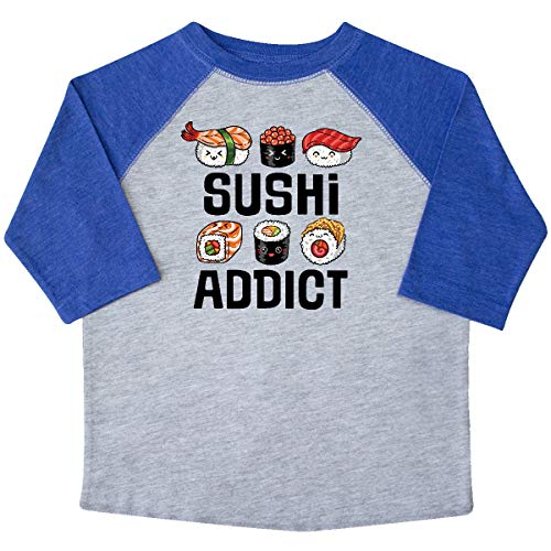 inktastic - Sushi Addict Funny Sushi Toddler T-Shirt 3T Heather and Royal 364f8