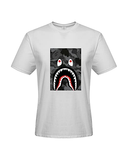 DIY Bape Shark Bomber Mens 100% Cotton Short Sleeve T-Shirt