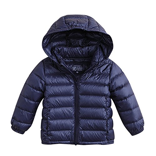 marc janie Baby Boys Girls Kids' Outerwear Ultra Light Down Jacket with Removable Hood 18 Months Dark (Duck Premium Coat)