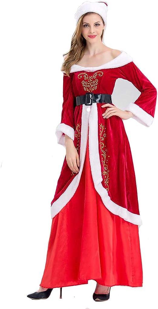 DUBAOBAO Traje de Navidad de Papá Noel para Mujer Sombrero + ...