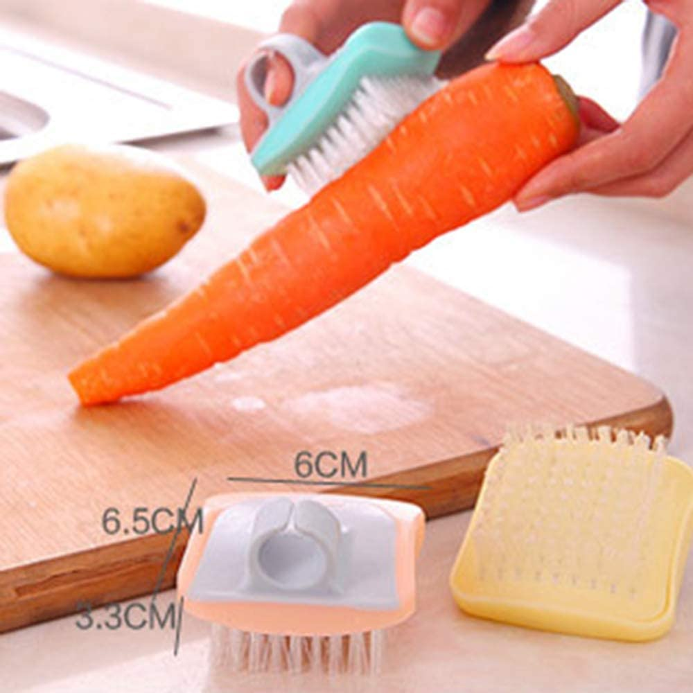 Random Colors 2 Pcs Mini Fruit and Vegetables Cleaning Brush with Comfortable Rubber Finger Grip for Washing Pumpkin Potato Carrot and More