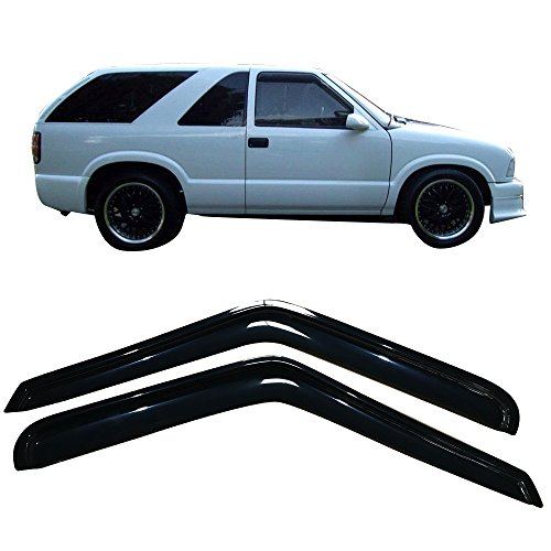 Window Visor Fits 1994-2005 Chevy S10 GMC S15 Sonoma Isuzu Hombre | Slim Style Dark Smoke Tint Acrylic Shade Rain Sun Guard Wind Vent Air Deflector by IKON MOTORSPORTS | 1995 1996 1997 1998 1999 2000