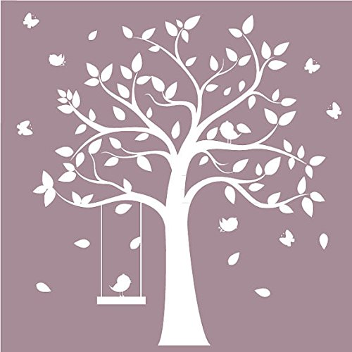 designyours Removable Tree Wall Decals with Birds White Tree