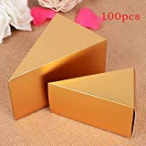 cyclamen9 100 Pcs European Style Wedding Favors Candy Boxes,Cake Candy Chocolate Boxes Triangle DIY Wedding Party Festival Gift,9.565.5cm(2)