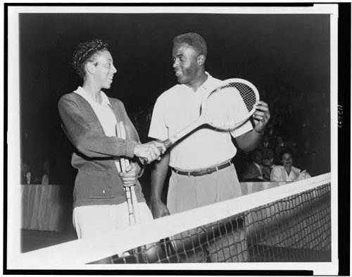 - Photo: Althea Gibson, Jackie Robinson of Brooklyn Dodgers 1951 . Size: 8x10 (approximately)