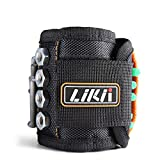 LIKII Upgrading Magnetic Wristband,15 Strong Magnet Wristbands with Pockets,Elastic Band for Holding Screws,Nails,Drill Bits,Unique Birthday Gifts Ideas Gadgets for Men/Dad/Him, Woodworking & DIY