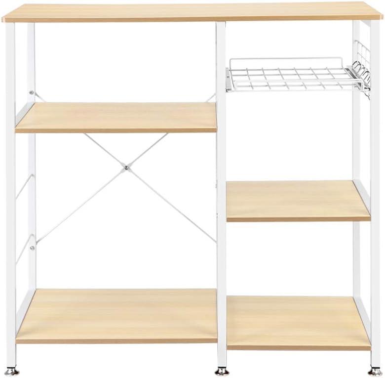 Luluman Kitchen Microwave Baker Rack Utility Storage Shelf Microwave Stand 3-Tier+3-Tier Table,35.4 x 15.7x 33 Dark Brown