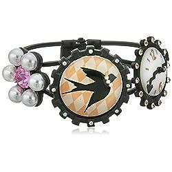 Betsey Johnson Wonderland Bird and Clock Hinged Bangle Bracelet, 2.5