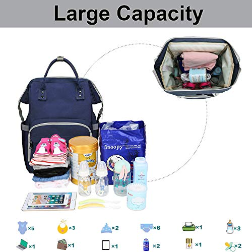 Diaper Bag Backpack Multifunction Travel Backpack with USB Charging Port Stroller Straps Water Resistant Maternity Baby Changing Bags Large Capacity Bag for Women Men(Blue)