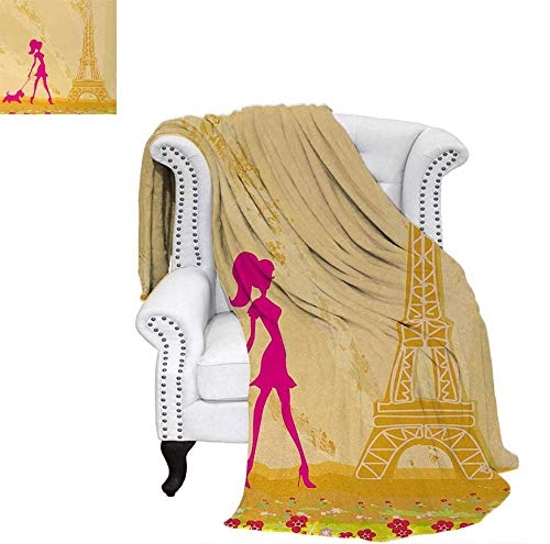 Throw Blanket Pink Silhouette of A Girl with The Dog Eiffel Tower in Paris Design Warm Microfiber All Season Blanket for Bed or Couch 80