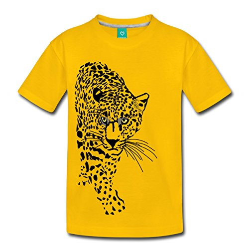 Spreadshirt Stalking Jaguar Exotic Animals Toddler Premium T-Shirt by, Youth 4T, sun yellow