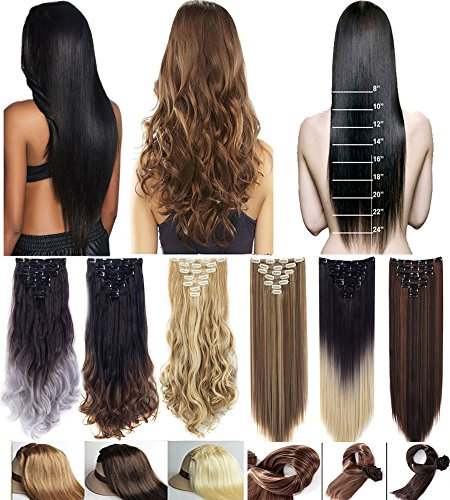 (3-5 Days Delivery 7Pcs 16 Clips 23 24 Inch Real Thick Curly Straight Full Head Double Weft Clip in on Hair Extensions Ombre Dip Dye Two Tone Color or Single Color)