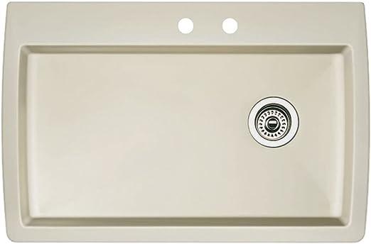 Blanco 440196-2 Diamond 2-Hole Single-Basin Drop-In or Undermount Granite  Kitchen Sink, Biscuit
