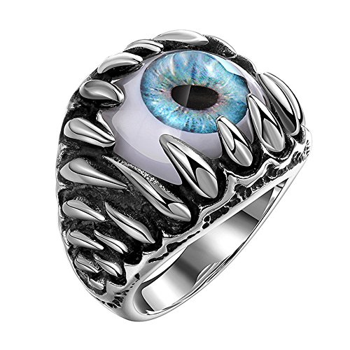 Men's Stainless Steel Devil Eye Ring Ring Vintage Gothic Skull Dragon Claw Evil Blue Eye (11) -