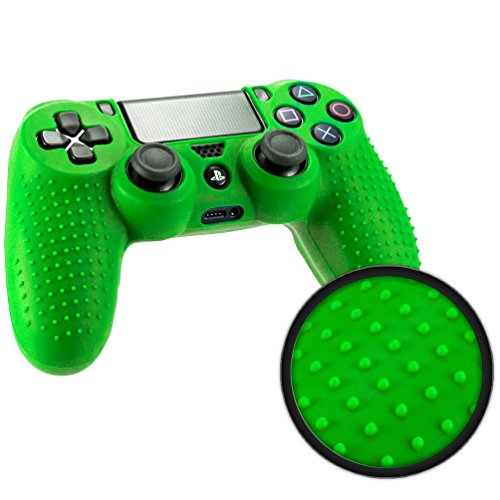 (Playstation 4 STUDDED Controller Skin by Foamy Lizard ® ParticleGrip Premium Protective Anti-slip Silicone Grip Case Cover for PS4 Controller (Photon - Green))