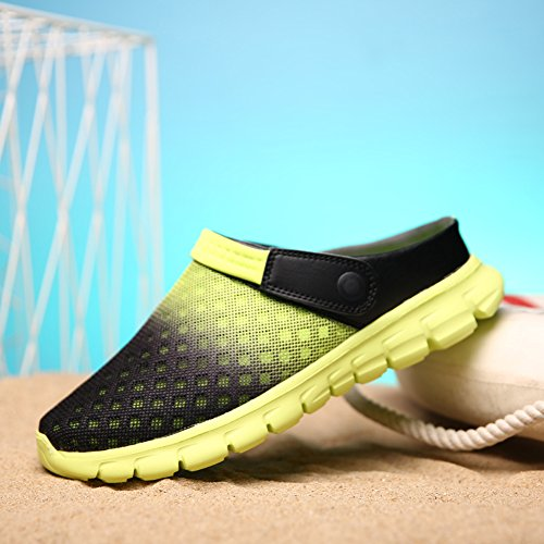 Sommer Gradient Sandale, Unisex Herren Damen Clog Breathable Mesh Sommer Sandalen Strand Aqua, Walking, Anti-Rutsch Sommer Hausschuhe Gelb