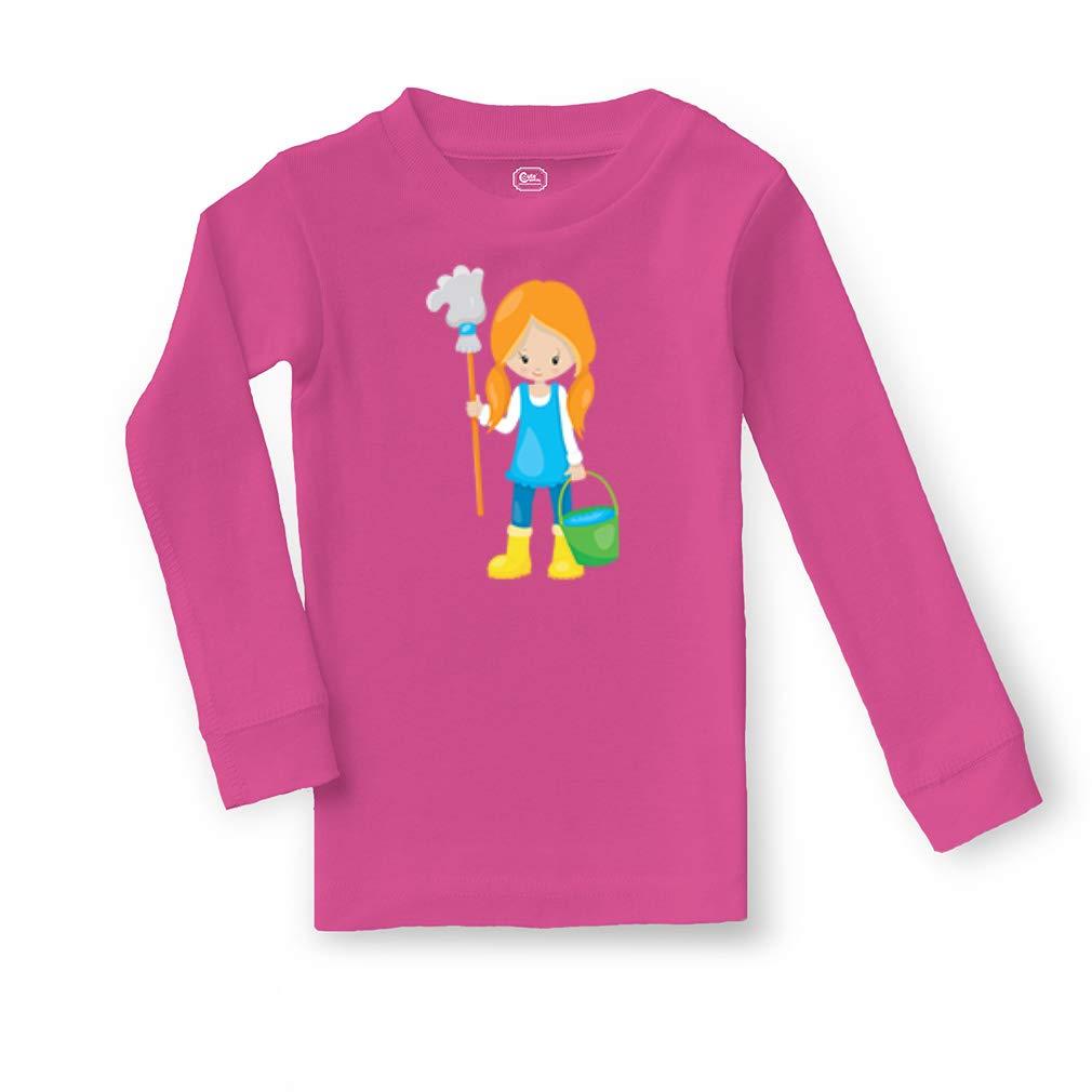 Girl Washes Floor Red Cotton Crewneck Boys-Girls Sleepwear Pajama 2 Pcs Set