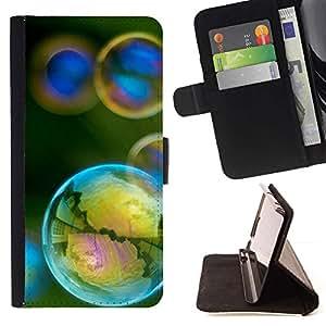 For Samsung ALPHA G850 Case , Reflexión iridiscente amarillo del trullo Verde- la tarjeta de Crédito Slots PU Funda de cuero Monedero caso cubierta de piel