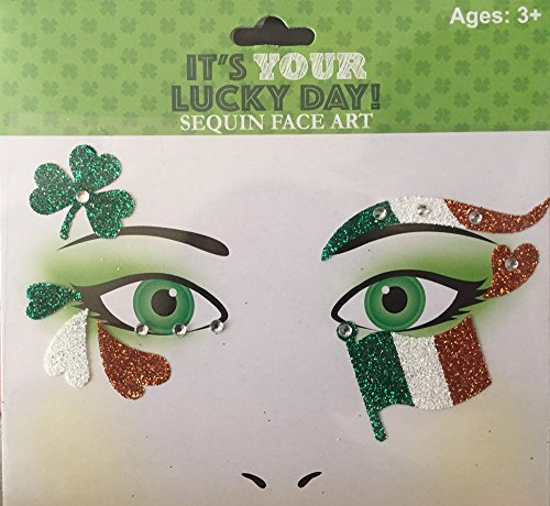 St. Patrick's Day Face Art Stickers Ireland Flag, Shamrocks, Hearts Irish Green