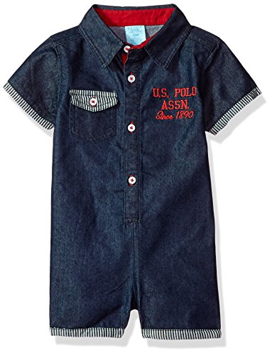 U.S. Polo Assn. Baby Boys Romper, Medium wash Denim Stripe Cuffs Multi Plaid, 24M