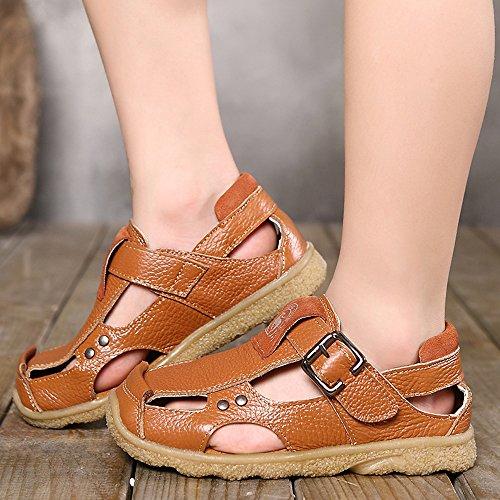 Dayiss® Jungen Mädchen Leder Sandalen Sport- & Outdoor Schuhe Sandaletten Hellbraun
