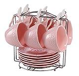 Eglaf Coffee Tea Cup Set Embossed Ceramic (Bone china) and Porcelain Saucers Scoop Bracket 6 - Piece Set (Pink)