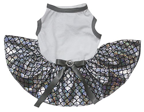 Petitebelle Pet Supply White T-Shirt Bling Silver Fish Scales Mermaid Dog Dress (Large)