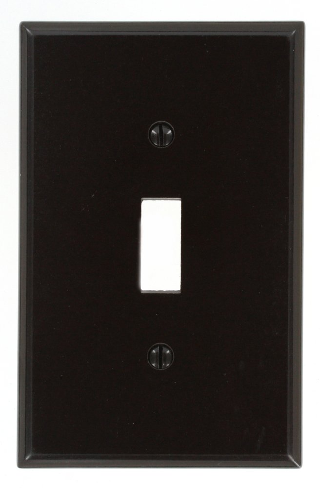 Leviton 80501 1-Gang Toggle Device Switch Wallplate, Midway Size, Brown