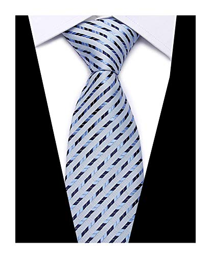Men's Baby Blue Stripe Silk Ties Bar Evening Married Soft Jacquard Woven Necktie ()