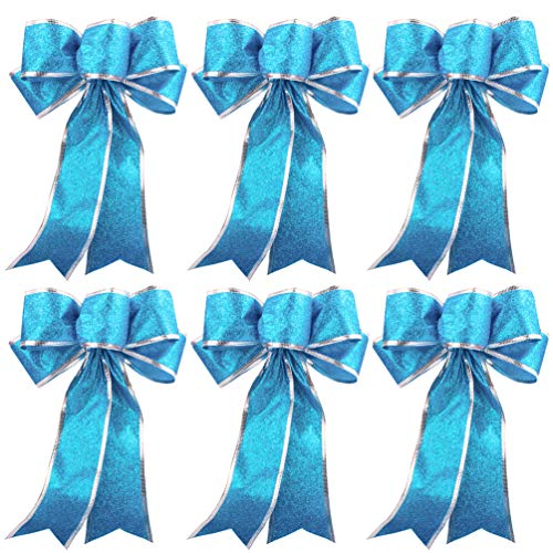 Large Ribbon Bow Blue Bows for Christmas Tree Hanging Ornaments Gifts Bow Decorations, 6pcs